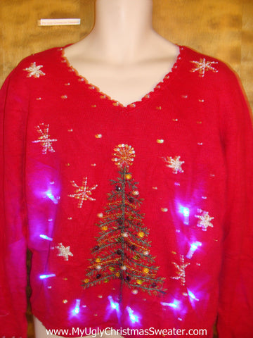 Crafty Red Tree Light Up Ugly Xmas Sweater