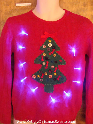 Button Decorated Tree Light Up Ugly Xmas Sweater