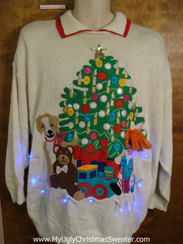 Toys and Dot Themed 80s Light Up Ugly Xmas Sweater