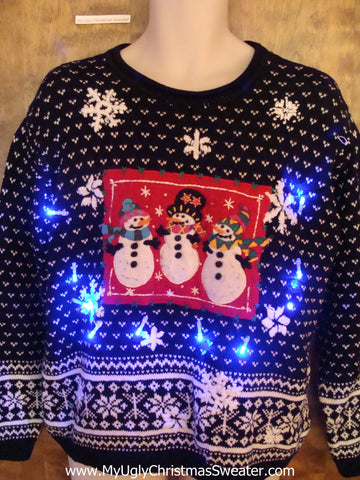 Nordic Snowmen 2sided Light Up Ugly Xmas Sweater