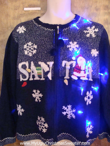 SANTA and Snow Light Up Ugly Xmas Sweater