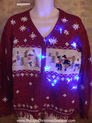 Ice Skating Friends Light Up Ugly Xmas Sweater