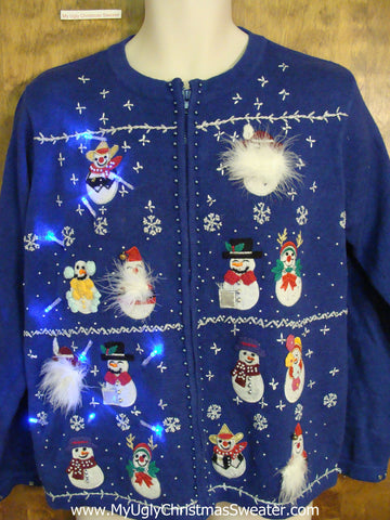 Snowman Army Lineup Light Up Ugly Xmas Sweater