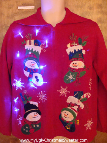 Foursome of Snowmen Stockings Light Up Ugly Xmas Sweater