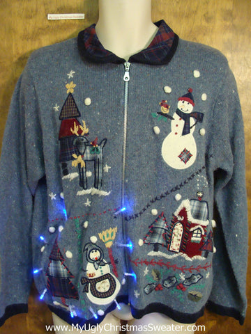 Blue Light Up Ugly Xmas Sweaterwith Plaid Collar