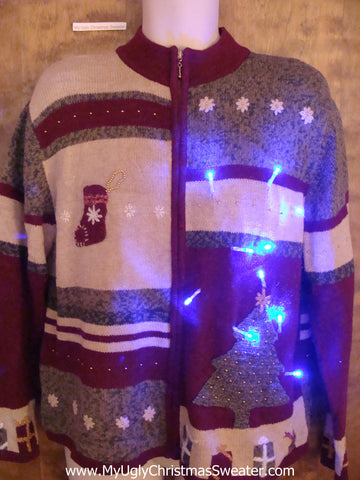 Two Sided 80s Light Up Ugly Xmas Sweater