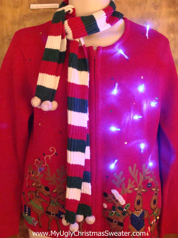Dancing Reindeer with Scarf Light Up Ugly Xmas Sweater