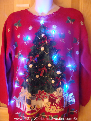 80s Red Christmas Sweater with Lights and Huge Tree (g219)