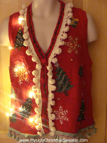 Tacky Ugly Christmas Sweater Vest with Lights and Fringe (g21)