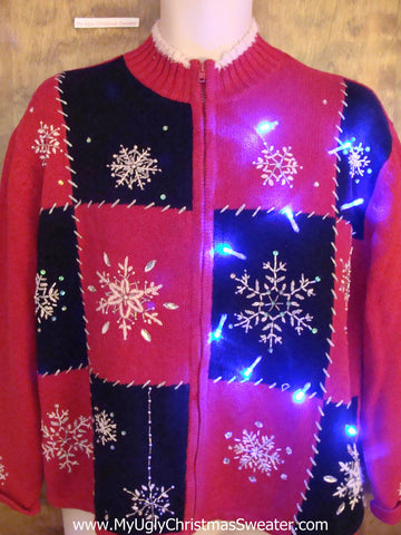 Snowflake Party Light Up Ugly Xmas Sweater