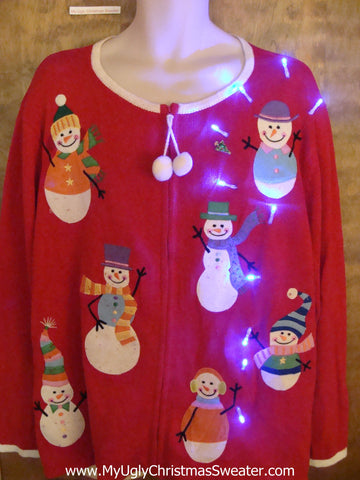Super Colorful Snowmen Light Up Ugly Xmas Sweater