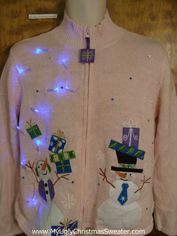 Cheap Pink Light Up Ugly Xmas Sweater
