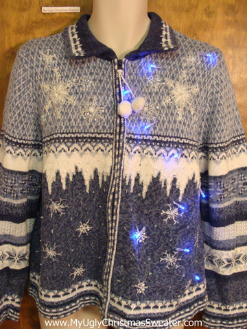Blue Snow and Ice Light Up Ugly Xmas Sweater