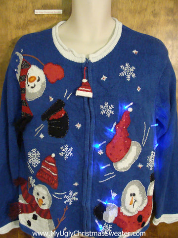 Funny Light Up Ugly Xmas Sweater with Snowmen Losing Their Hats