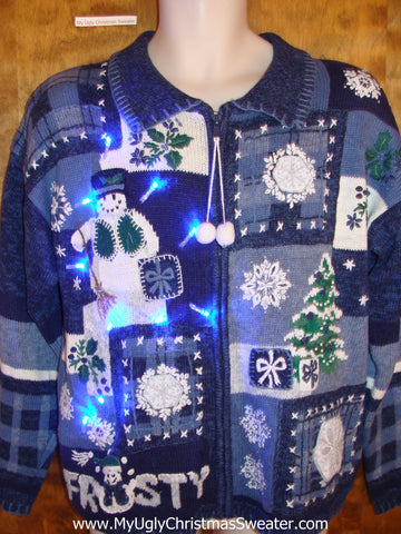 FROSTY Themed 2sided Light Up Ugly Xmas Sweater