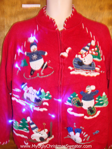 Funny Snowman Winter Sports Light Up Ugly Xmas Sweater