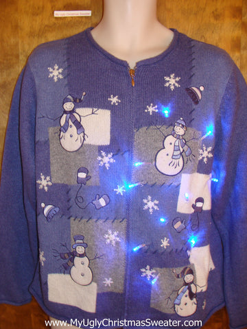 Blue Light Up Ugly Xmas Sweater with Festive Snowmen