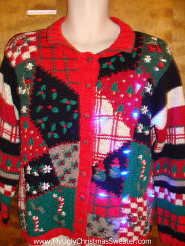 Horrible 80s Patchwork Light Up Ugly Xmas Sweater
