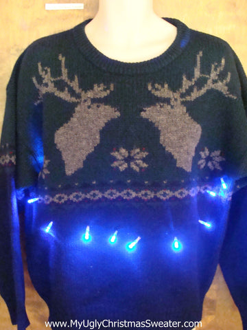 Classic Reindeer Light Up Ugly Xmas Sweater