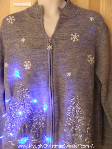 Grey Winter Scene Christmas Sweater with Lights (g221)