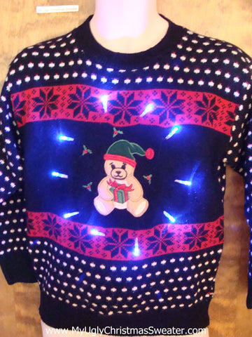 Nordic Style Light Up Ugly Xmas Sweater with Bear