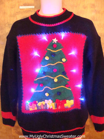Tree with Pom Poms Light Up Ugly Xmas Sweater
