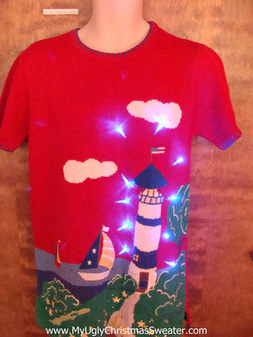 Short Sleeved Beach Lighthouse Light Up Ugly Xmas Sweater