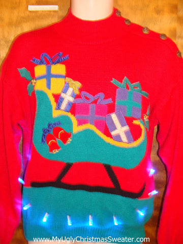 BEST 80s Sleigh Light Up Ugly Xmas Sweater