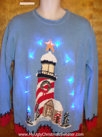 Tropical Lighthouse Themed Light Up Ugly Xmas Sweater