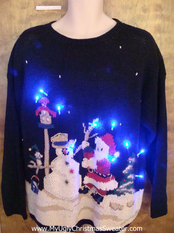 Santa and a Snowman Light Up Ugly Xmas Sweater