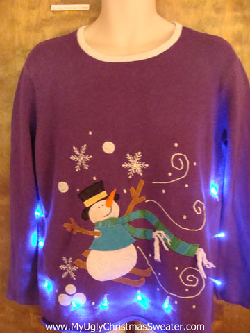 Purple Light Up Ugly Xmas Sweater with Snowman