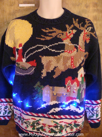 BEST Reindeer 80s Light Up Ugly Xmas Sweater