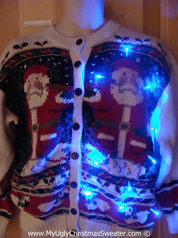 Horrid Twin Santas Christmas Sweater with Lights (g222)