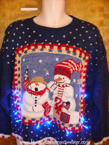 Patriotic Snowmen Light Up Ugly Xmas Sweater