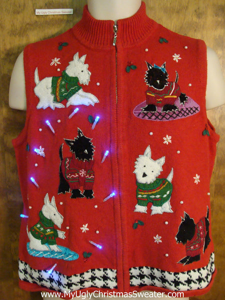 Westie And Scottie Dogs Light Up Ugly Xmas Sweater Vest