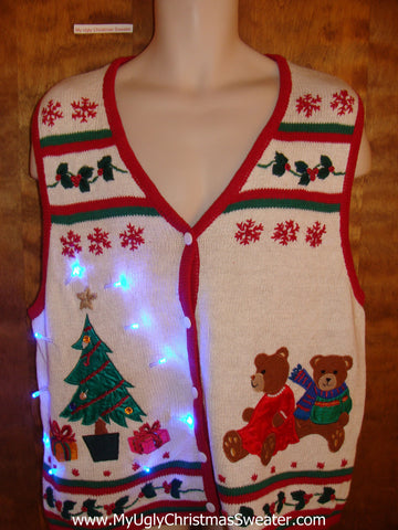 Cute Light Up Ugly Xmas Sweater Vest with Teddy Bears