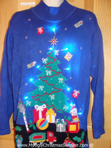 Blue Christmas Sweater with Huge Tree and Lights (g223)