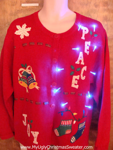 PEACE and JOY Red Light Up Ugly Xmas Sweater