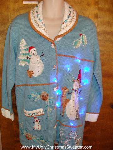 Cute Long Baby Blue Light Up Ugly Xmas Sweater