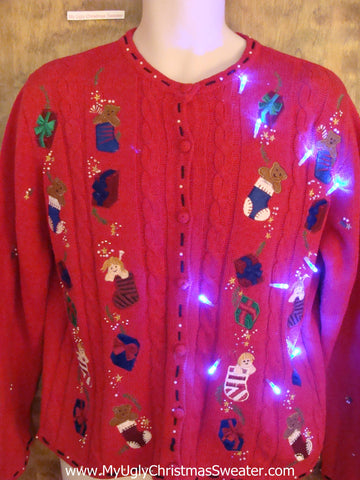 Toy Filled Stockings Light Up Ugly Xmas Sweater