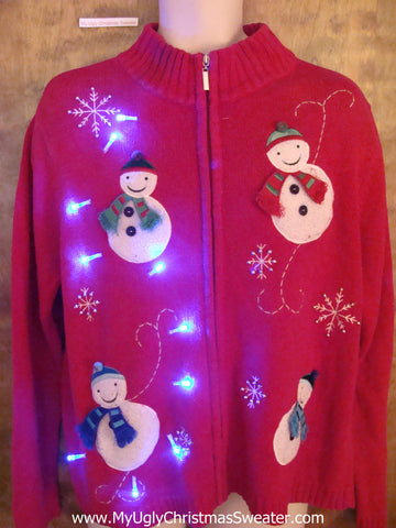 Happy Snowman Friends Light Up Ugly Xmas Sweater