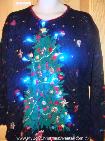 Black Christmas Sweater with Huge Tree and Lights (g224)