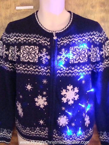 Nordic Snowflakes Light Up Ugly Xmas Sweater