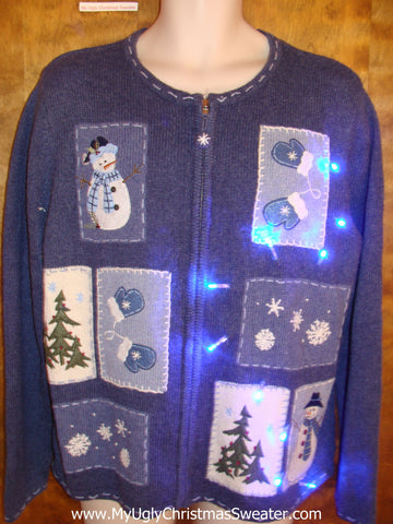 Blue Light Up Ugly Xmas Sweater with Patchwork Snowmen