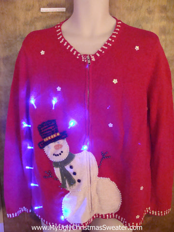 Bubble Butt Snowman Light Up Ugly Xmas Sweater