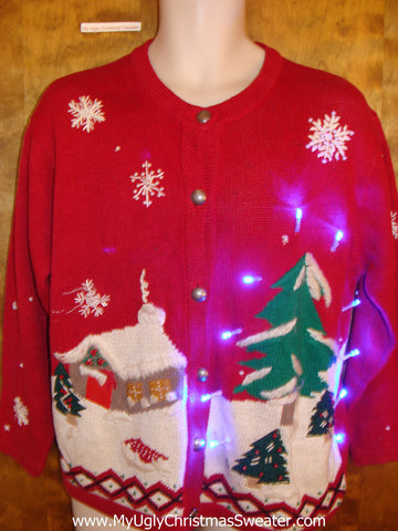 Winter Cozy House Scene Light Up Ugly Xmas Sweater