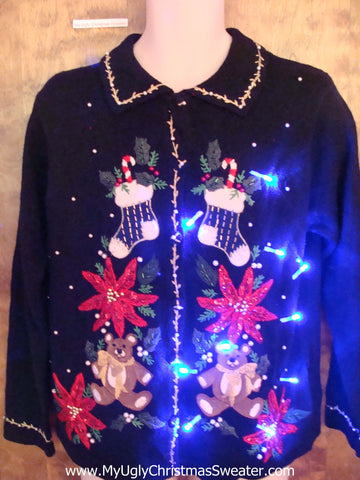 Red Poinsettias and Bears Light Up Ugly Xmas Sweater