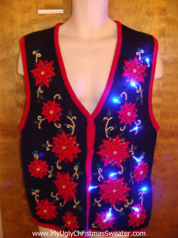 Poinsettia Crazy Light Up Ugly Xmas Sweater Vest