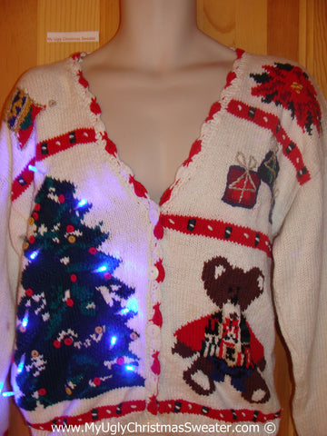 80s Christmas Sweater with Teddy Bear and Lights (g225)