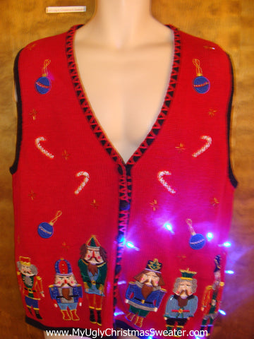 Nutcracker Lineup Light Up Ugly Xmas Sweater Vest